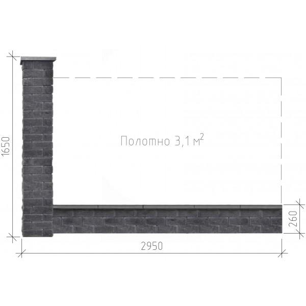 Бетонный забор Брик S в сборе 2.95х1,65 м