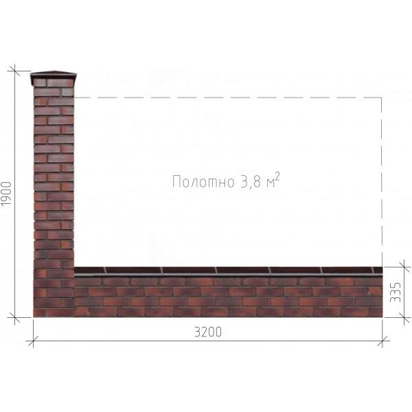 Забор из кирпича в сборе 3,2х1,9 м