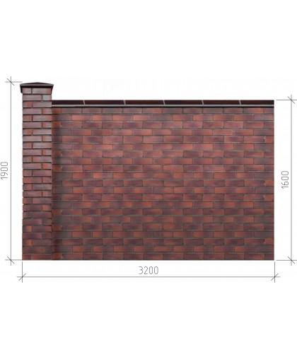 Забор из кирпича в сборе 3,2х1,9х1,6 м сплошной