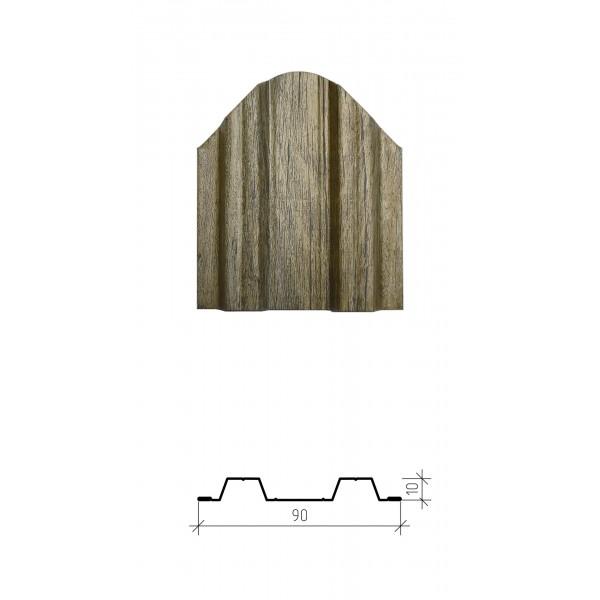 Штакетник металлический Константа, имитация дерева, двустороннее покрытие