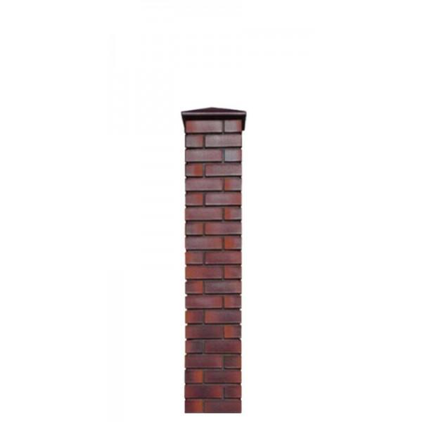 Кирпичный столб для забора с крышкой, высота 1590 мм
