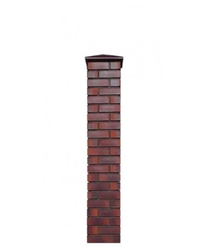 Кирпичный столб для забора с крышкой, высота 1665 мм