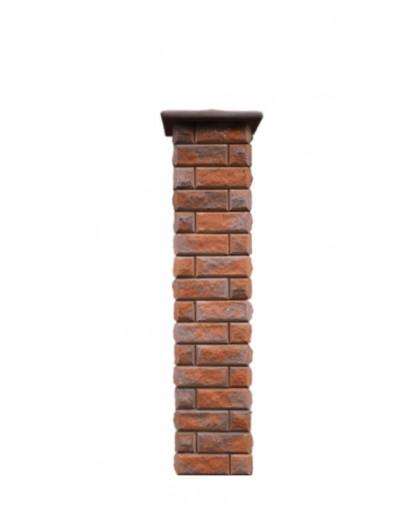 Столб для забора Брик с крышкой, высота 1690 мм