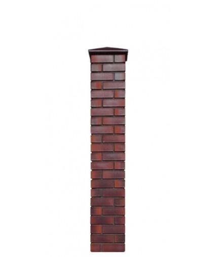 Кирпичный столб для забора с крышкой, высота 1740 мм