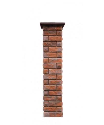 Столб для забора Брик с крышкой, высота 1790 мм