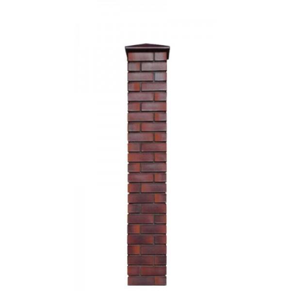 Кирпичный столб для забора с крышкой, высота 1815 мм