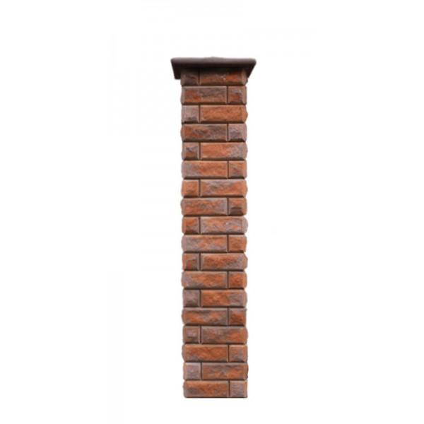 Столб для забора Брик с крышкой, высота 1890 мм