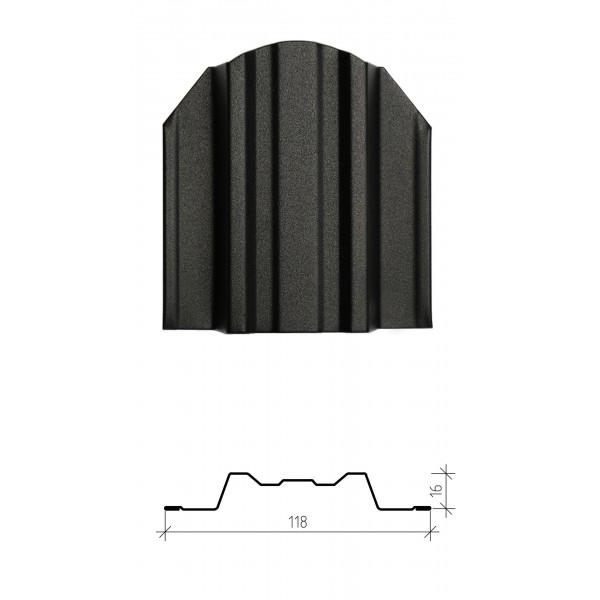 Штакетник металлический Юникс, матовое полимерное двустороннее покрытие