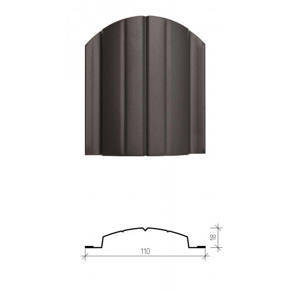 Штакетник металлический Версаль, матовое полимерное двухстороннее покрытие